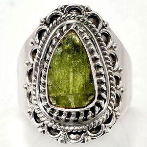 Rough Green Kyanite - India 925 Ring Size 7.5